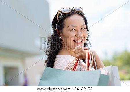 Joyful Female Shopaholic