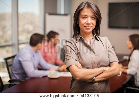 Cute Woman In A Meeting Room