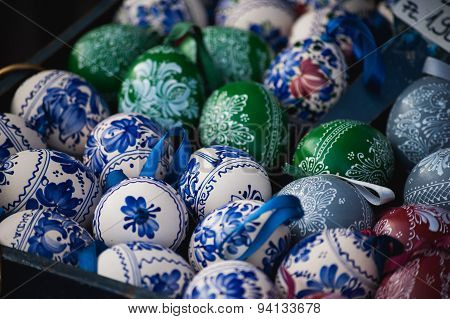 Colored Easter Wooden Eggs Fullframe