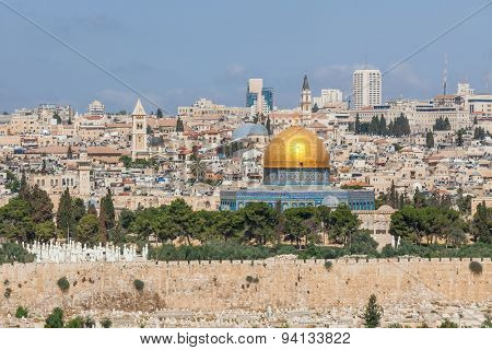 View on Old City and Dome of the Rock Mosque in Jerusalem, Israel.