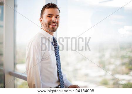 Happy Hispanic Businessman