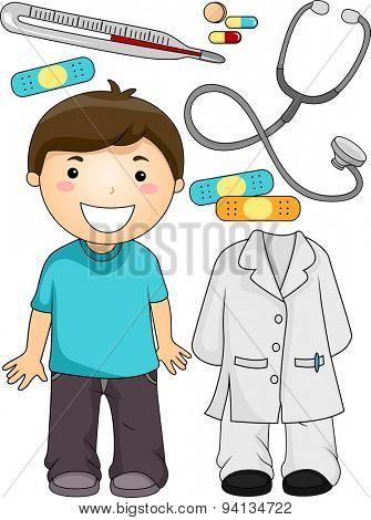 Illustration of a Little Boy Standing Beside Items Associated with Doctors