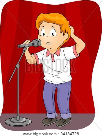 Illustration of an Anxious Boy Standing Behind a Microphone