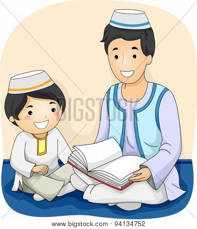 Illustration of a Muslim Man Reading the Quran to a Muslim Boy