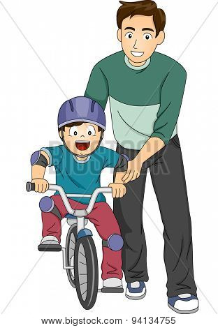 Illustration of a Father Teaching His Son How to Ride a Bike