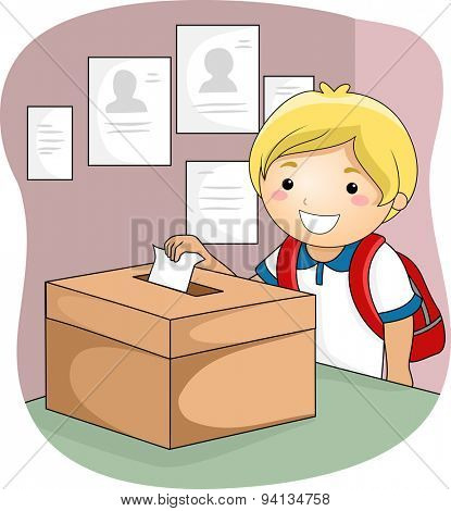 Illustration of a Little Boy Dropping His Ballot Inside the Box