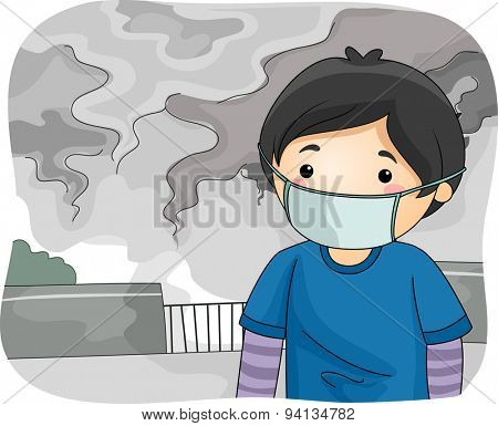 Illustration of a Little Boy Wearing a Surgical Mask While Walking Around a Polluted City