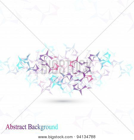 Polygonal Abstract background. Low poly, molecule, communication with connected dots and lines. Vect