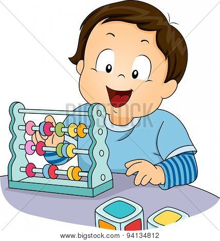 Illustration of a Little Boy Playing with an Abacus