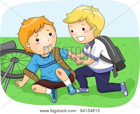 Illustration of a Little Boy Helping Another Boy Who Fell Off His Bike