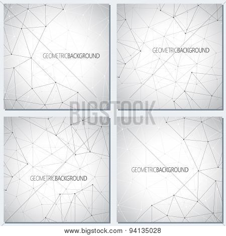 Collection geometric gray background molecule and communication for your design. Vector illustration