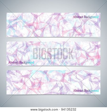 Modern colorful set of vector banners for your design. Low poly, molecule, communication with connec