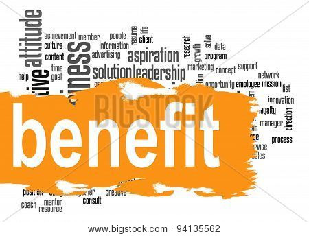Benefit Word Cloud With Yellow Banner