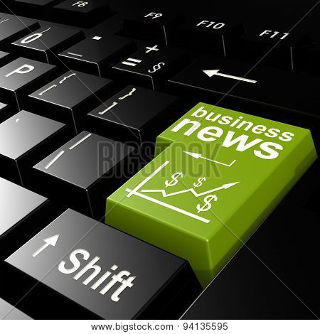 Business News Word On The Green Enter Keyboard