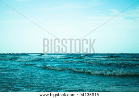 Sea With Waves And Sky