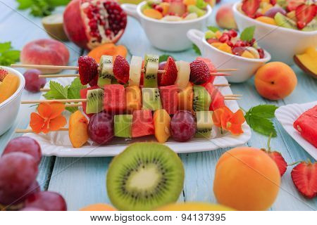 Diet, healthy fruit salad, fruit skewer - healthy breakfast, weight loss concept