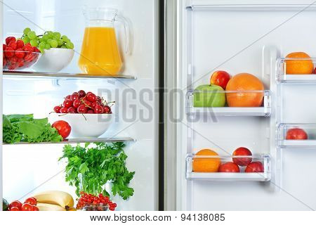 Refrigerator With Healthy Food Fruits And Vegetables