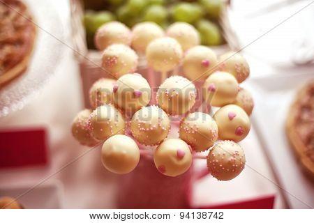 White Cake Pops On Table