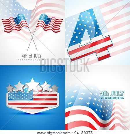 vector set of american independence day background illustration with american flag