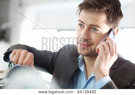 Handsome men talking on phone