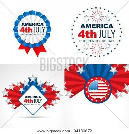 vector set of creative american flag design badge illustration background
