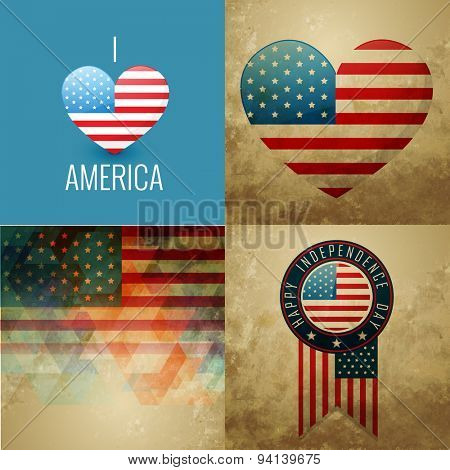 vector collection of american independence day flag design background illustration