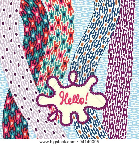 Greeting Card Design Template. Hand-drawn Cute Colored Patterns