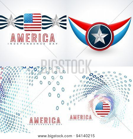 vector set of american independence day flag design with creative style