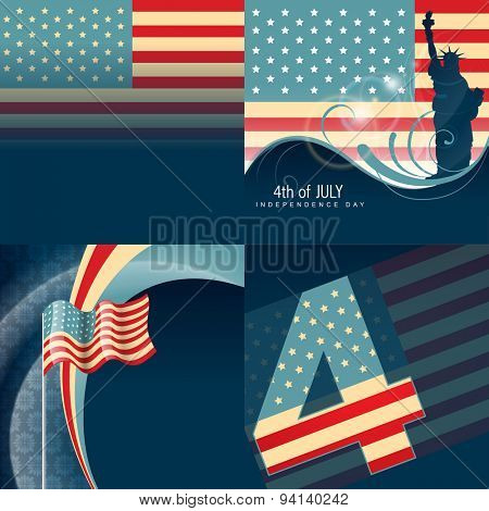 vector set of american independence day background with flag design illustration