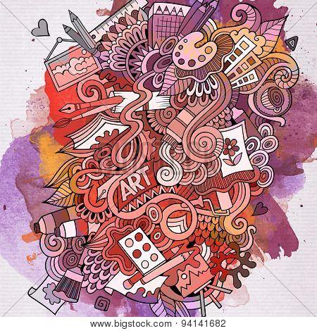 Art doodles elements watercolor background