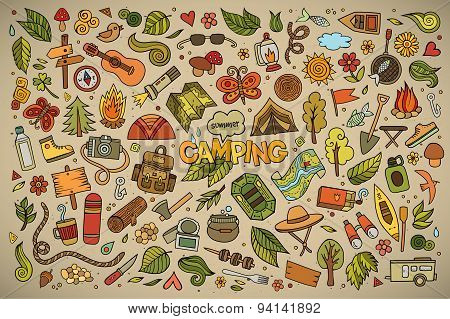 Camping nature symbols and objects