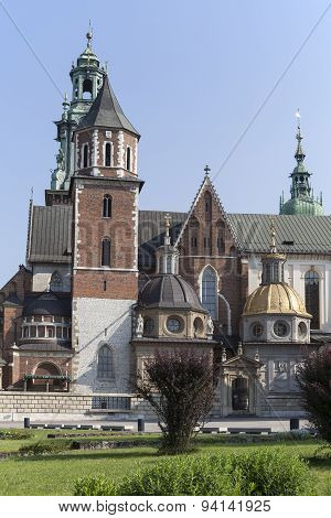 Wawel Cathedral On Wawel Hiill In Old Town Of Cracow In Poland