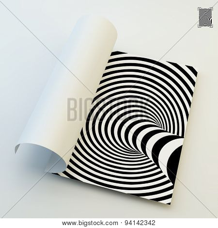 A4 business blank. Black and white abstract striped background. Optical Art. 3d vector illustration.