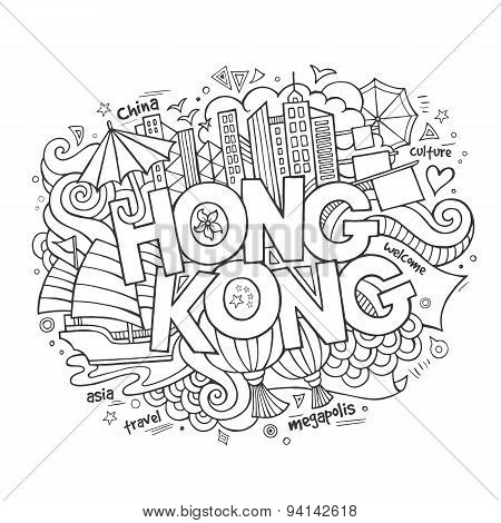 Hong Kong hand lettering and doodles elements background