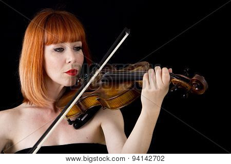 Violin Player Woman With Red Hair Close Up Isolated On Black Background