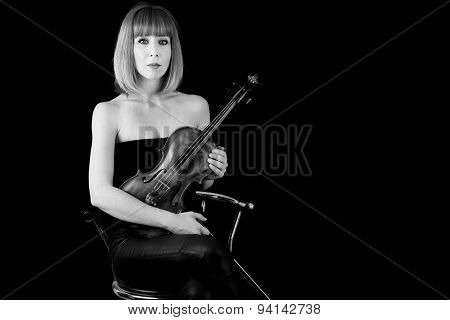 Violin Player Woman With Red Hair B&w  Isolated On Black Background
