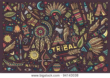 Tribal native set of symbols