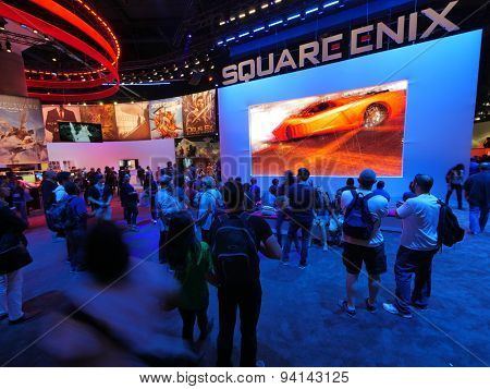 LOS ANGELES - June 17: People watching Square Enix video game presentation at E3 2015 expo. Electronic Entertainment Expo, commonly known as E3, is an annual trade fair for the video game industry