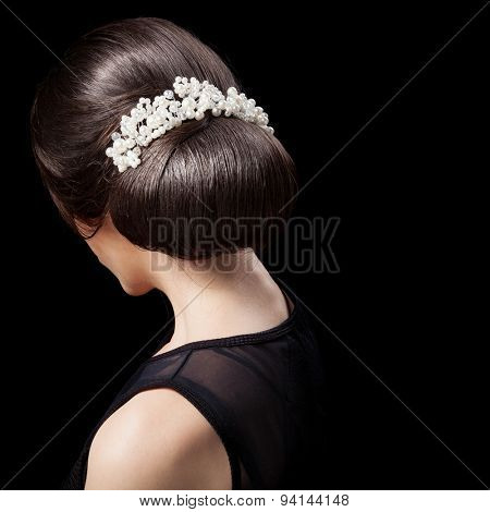 Woman's Head - Fashion Festive Coiffure with Pearls. Upsweep. Hairstyle.