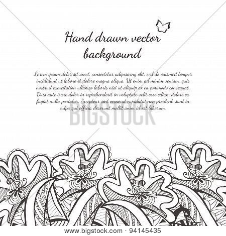Floral doodle pattern. Abstract hand drawn zentangle background.