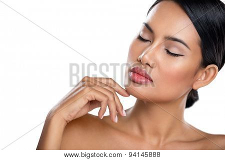 young woman touching her perfect skin, clean and healthy skin