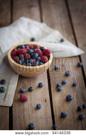 Nice Fresh Berries On Wooden Background