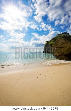 Sunny beach with beautiful sand and sea, beach paradise
