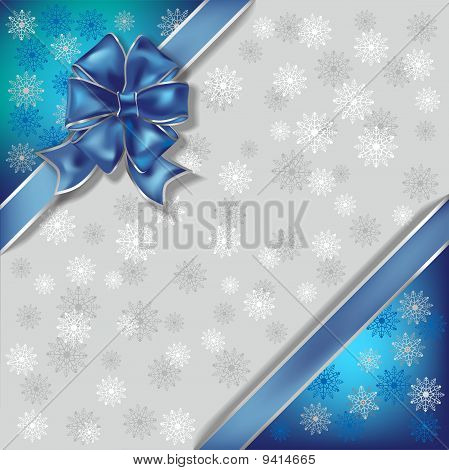 Christmas Illustration On A Snowflakes Background