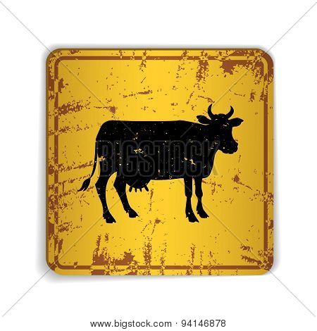 Old skratched yellow road sign with cow silhouette.
