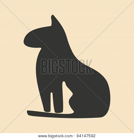 Flat in black and white mobile application Egypt cat