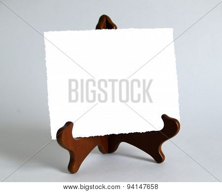 Wooden Stand With Blank Paper Card