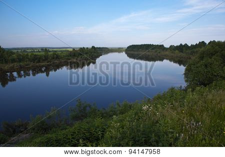 Tura River. Merkushino village. Sverdlovsk region.