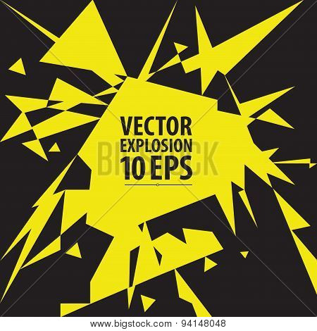 Abstract explosion. Vector illustration. Geometrical composition of triangles