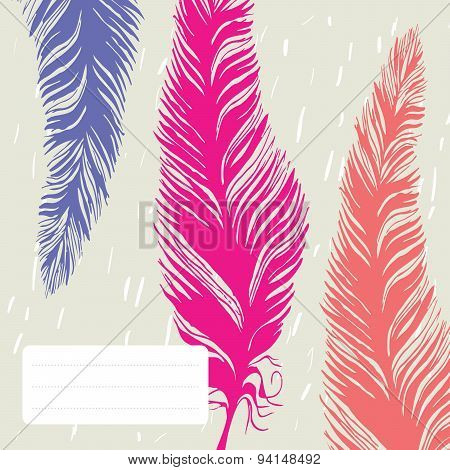 Vector line drawing feathers in bright colors